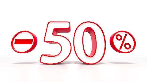 Símbolo de 50 por cento vermelho isolado no fundo branco. renderização 3d