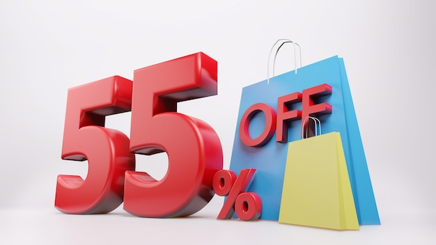 Símbolo de 55% com sacola de compras