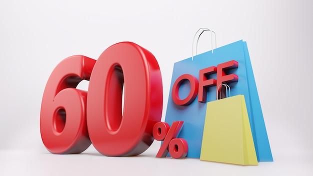 Símbolo de 60% com sacola de compras