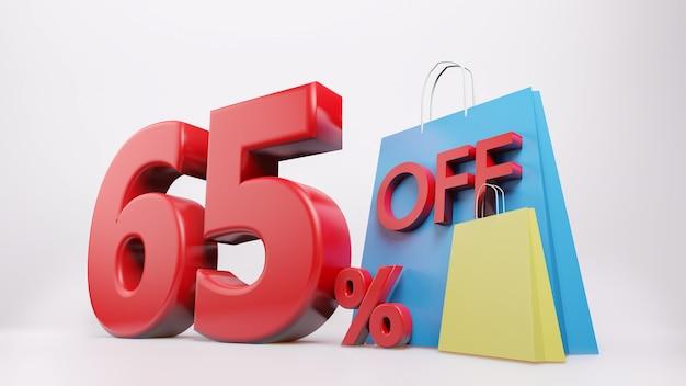 Símbolo de 65% com sacola de compras