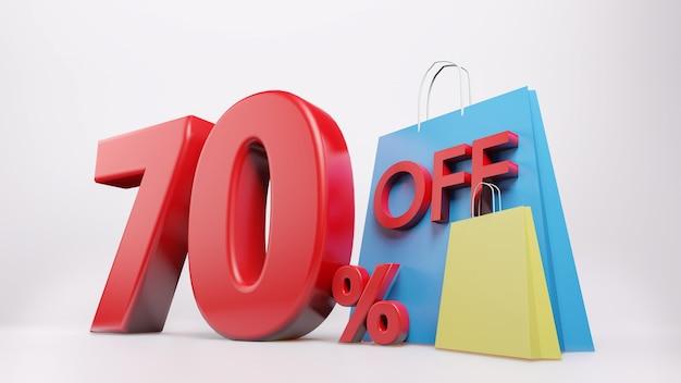 Símbolo de 70% com sacola de compras