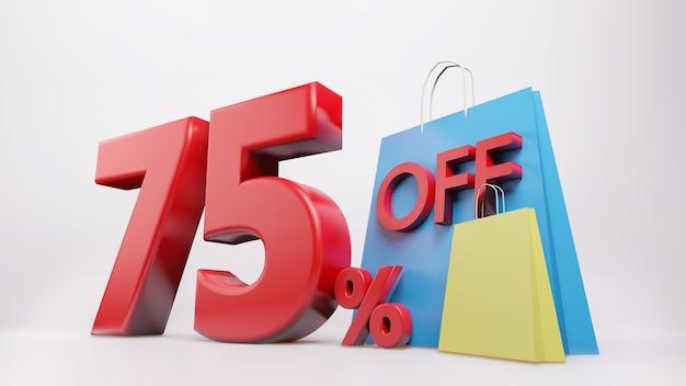 Símbolo de 75% com sacola de compras