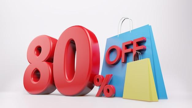 Símbolo de 80% com sacola de compras