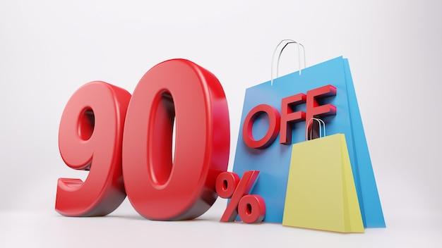 Símbolo de 90% com sacola de compras, renderização 3d isolada