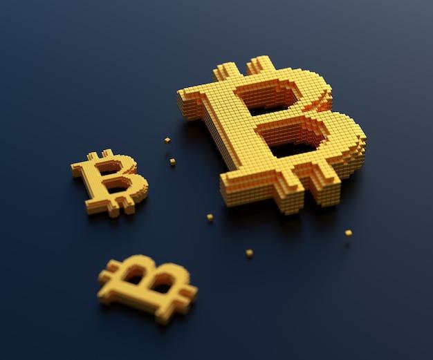 Símbolo de bitcoin dourado com conexão de caixa, negociação de criptomoeda e conceito de mineração