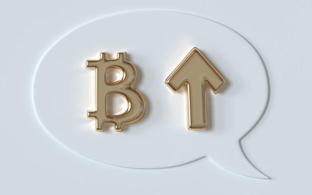 Símbolo de bitcoin dourado e seta para cima ilustração 3d