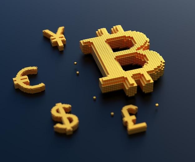 Símbolo de bitcoin dourado, euro, libra, iene com conexão de caixa, câmbio, negociação de criptomoeda e conceito de mineração