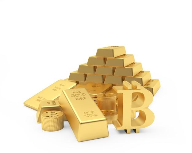 Símbolo de bitcoin e barras de ouro e moedas de dólar