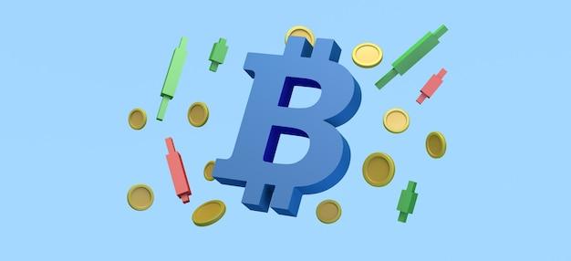 Símbolo de bitcoin flutuando com moedas e gráficos de velas investimento financeiro ilustração 3d