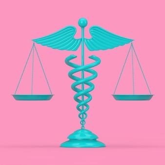 Símbolo de caduceu médico azul como escalas no estilo duotônico em um fundo rosa. renderização 3d