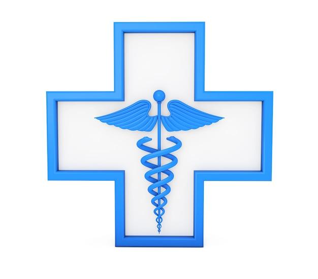 Símbolo de caduceu médico azul em cruz sobre um fundo branco. renderização 3d