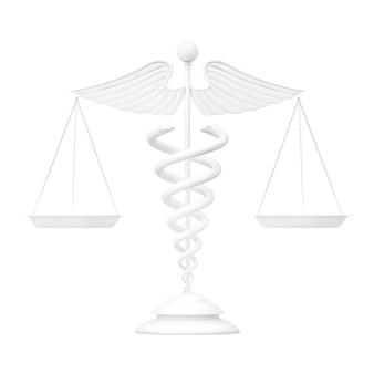Símbolo de caduceu médico branco como escalas no estilo de argila em um fundo branco. renderização 3d