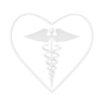 Símbolo de caduceu médico branco em forma de coração como estilo de argila em um fundo branco. renderização 3d