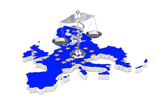 Símbolo de caduceu médico como escalas ao longo do mapa da união europeia com a bandeira da ue em um fundo branco. renderização 3d