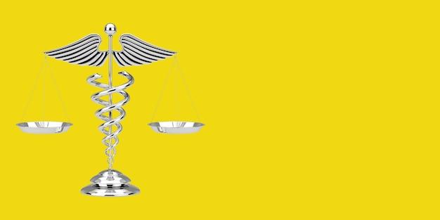 Símbolo de caduceu médico como escalas em um fundo amarelo. renderização 3d
