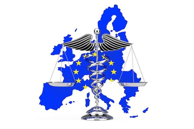 Símbolo de caduceu médico como escalas na frente do mapa da união europeia com a bandeira da ue em um fundo branco. renderização 3d