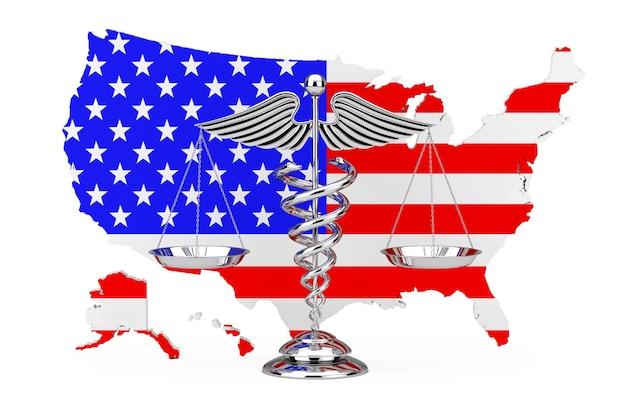 Símbolo de caduceu médico como escalas na frente do mapa dos eua em um fundo branco. renderização 3d