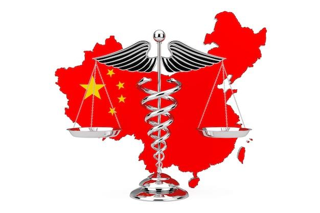 Símbolo de caduceu médico como escalas na frente do mapa e da bandeira da china em um fundo branco. renderização 3d
