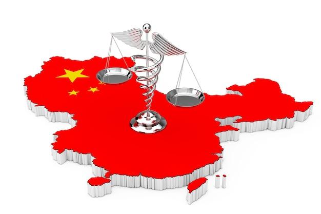 Símbolo de caduceu médico como escalas sobre o mapa e a bandeira da china em um fundo branco. renderização 3d