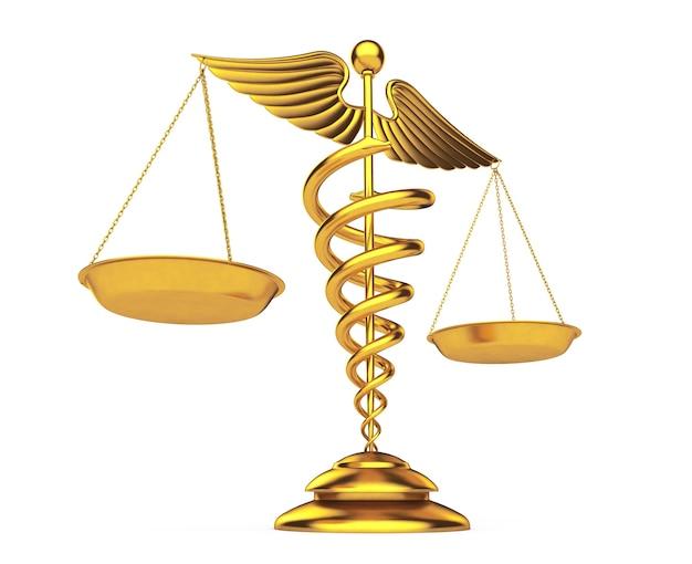Símbolo de caduceu médico dourado como escalas em um fundo branco. renderização 3d