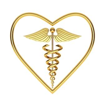 Símbolo de caduceu médico dourado em forma de coração em um fundo branco. renderização 3d