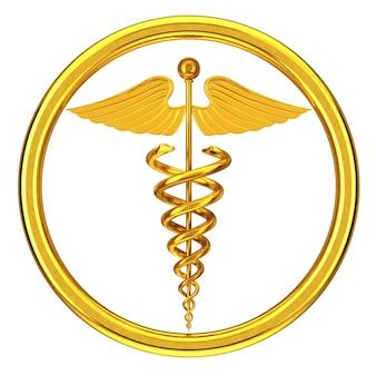 Símbolo de caduceu médico dourado sobre um fundo branco. renderização 3d