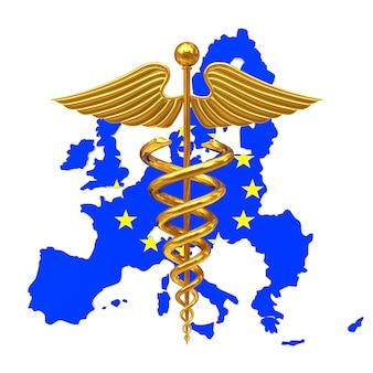 Símbolo de caduceu médico ouro com a bandeira da ue da união europeia um fundo branco. renderização 3d