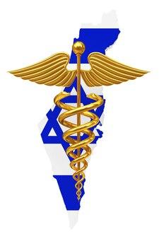 Símbolo de caduceu médico ouro com bandeira de israel um fundo branco. renderização 3d