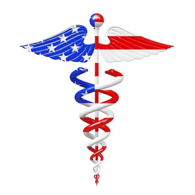 Símbolo de caduceu médico ouro como estados unidos da américa eua embandeiram um fundo branco. renderização 3d
