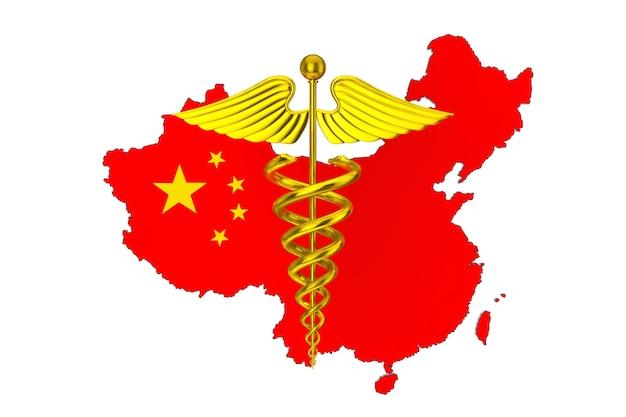 Símbolo de caduceu médico ouro na frente do mapa da china com a bandeira em um fundo branco. renderização 3d