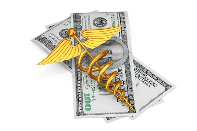 Símbolo de caduceu médico ouro sobre contas de dólares americanos em um fundo branco. renderização 3d