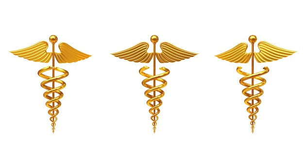 Símbolo de caduceu médico ouro sobre um fundo branco. renderização 3d
