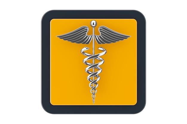 Símbolo de caduceu médico prateado como botão de ícone da web do touchpoint em um fundo branco. renderização 3d