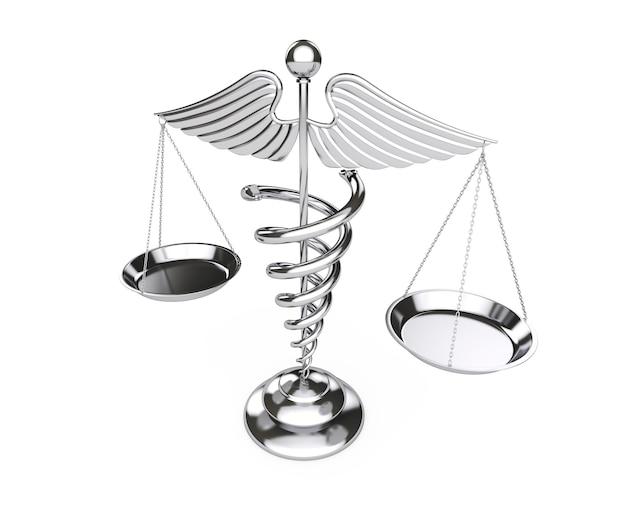 Símbolo de caduceu médico prateado como escalas em um fundo branco. renderização 3d