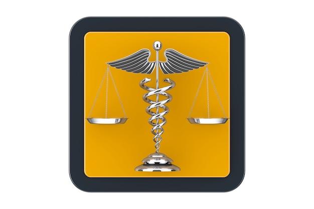 Símbolo de caduceu médico prateado em forma de escalas como botão de ícone da web do touchpoint em um fundo branco. renderização 3d