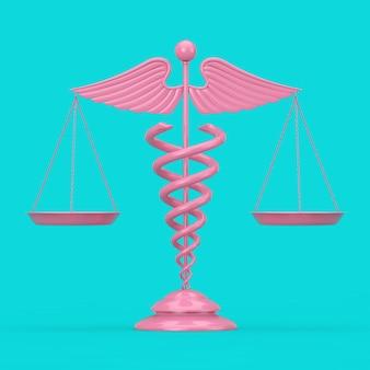 Símbolo de caduceu médico rosa como escalas em estilo duotônico em um fundo azul. renderização 3d