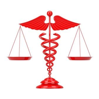 Símbolo de caduceu médico vermelho como escalas em um fundo branco. renderização 3d