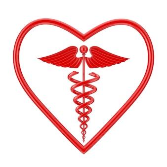Símbolo de caduceu médico vermelho em forma de coração em um fundo branco. renderização 3d