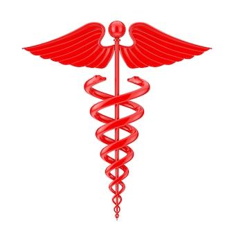 Símbolo de caduceu médico vermelho sobre um fundo branco. renderização 3d