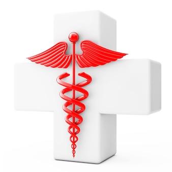 Símbolo de caduceu vermelho na frente da cruz branca em um fundo branco. renderização 3d