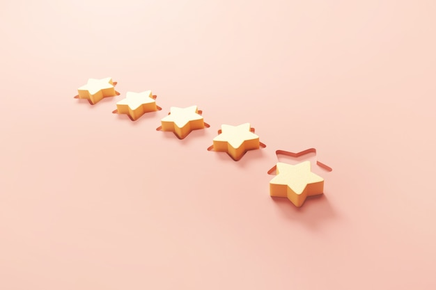 Símbolo de cinco estrelas com melhor classificação de serviços excelentes para satisfação