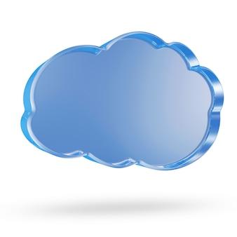 Símbolo de computação em nuvem de vidro isolado no branco