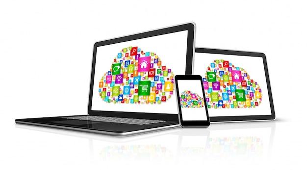 Símbolo de computação em nuvem em dispositivos eletrônicos