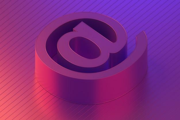 Símbolo de correio de entre em contato conosco e-mail em iluminação colorida, renderização em 3d
