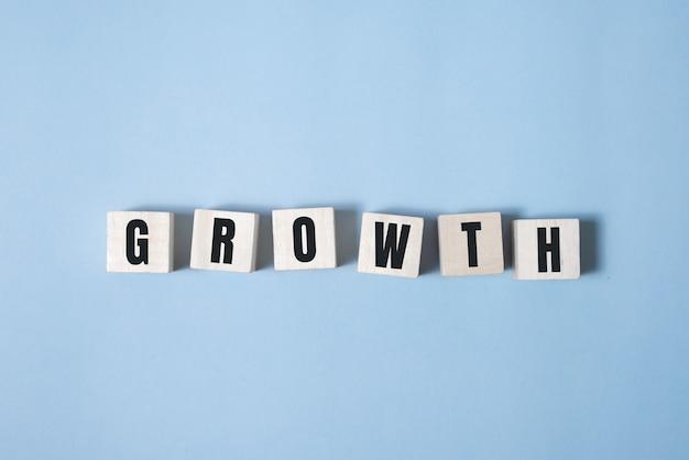 Símbolo de crescimento. um cubo de madeira e muda o crescimento das palavras.