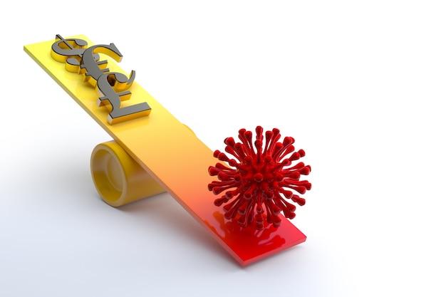 Símbolo de dinheiro de ouro e vírus da corona vermelha em uma gangorra. renderização 3d