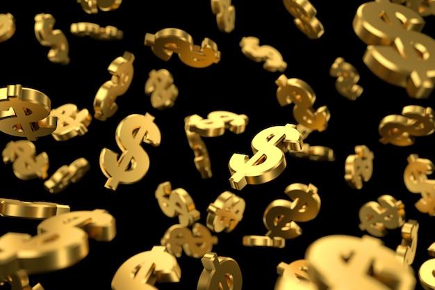 Símbolo de dólar dourado voando antigravidade.