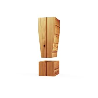 Símbolo de exclamação de madeira isolado no fundo branco