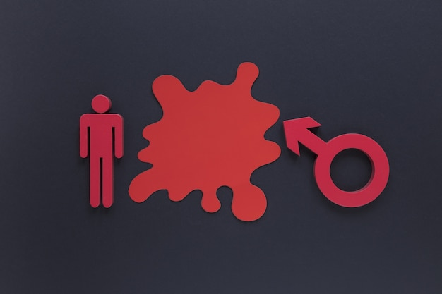 Símbolo de gênero masculino vista superior