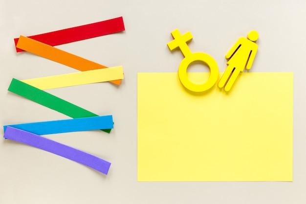 Símbolo de gênero na mesa